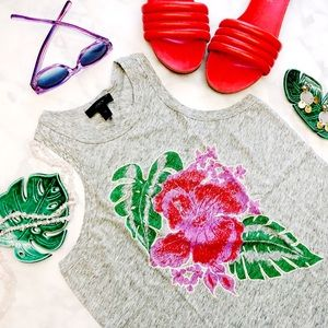 J. Crew Gray Tropical Floral Muscle Tank